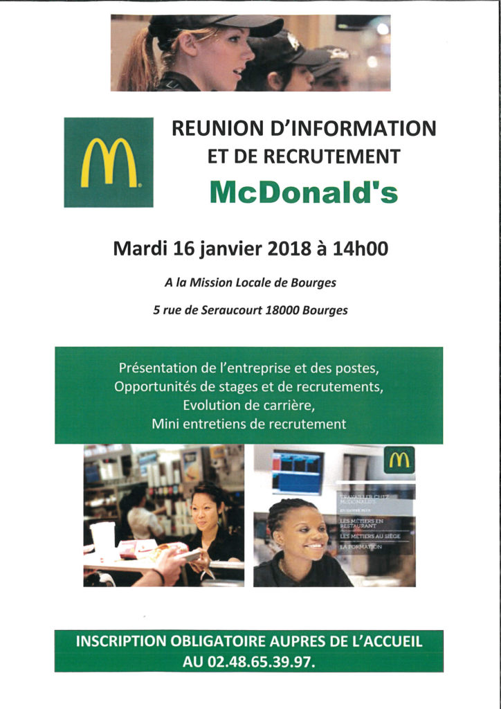 r u00e9union d u2019information et de recrutement mcdonald u2019s