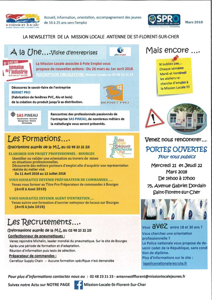 newsletter mission locale antenne de saint